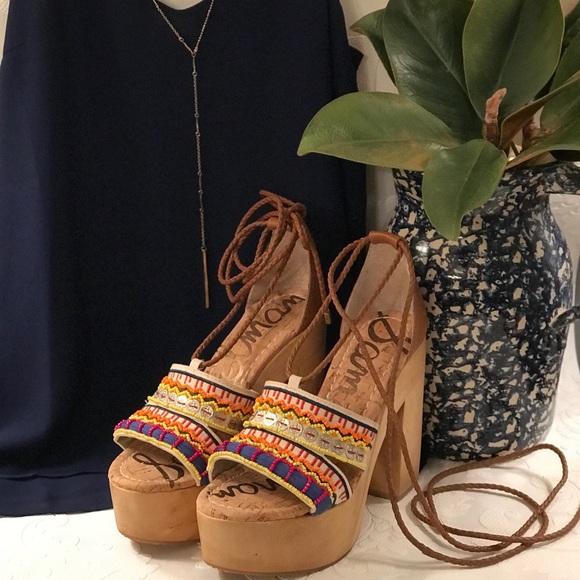 92a697a4ebc Sam Edelman  Mel  Ankle Wrap Platform Sandal NWT